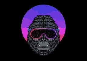 gorille dans des lunettes spatiales vecteur