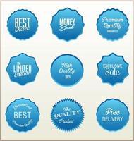 collection de badges bleus vintage vecteur