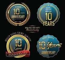Modèles de badges 10e anniversaire vecteur
