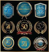 Modèles de badge 50e anniversaire vecteur
