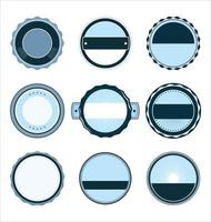 collection d'insignes rétro bleu clair