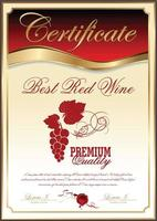 meilleur certificat de collection de vin rouge vecteur