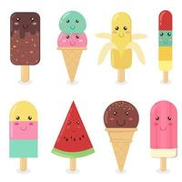 ensemble de crème glacée emoji vecteur