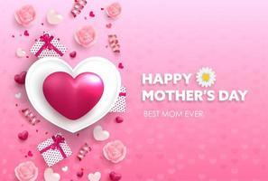 bonne fête des mères grande bannière coeur rose vecteur