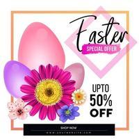 affiche de vente de Pâques avec des fleurs et des oeufs colorés vecteur