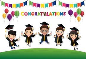 étudiants heureux sautant avec diplôme vecteur