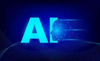intelligence artificielle robot technologie lettre fond vecteur