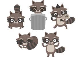Vecteurs de raccoon de dessin animé gratuits