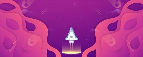 Bannière d'espace de conception de papier découpé rose et violet 3D avec fusée vecteur