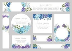 ensemble de milieux floraux aquarelles avec espace de texte