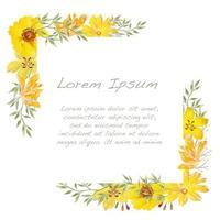 cadre floral aquarelle jaune vecteur
