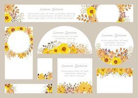 ensemble de milieux floraux aquarelles jaunes avec espace de texte