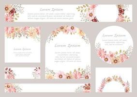ensemble de milieux floraux aquarelles avec espace de texte vecteur