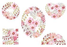 ensemble de milieux floraux aquarelles roses vecteur