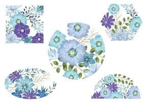 ensemble de milieux floraux aquarelles bleus vecteur