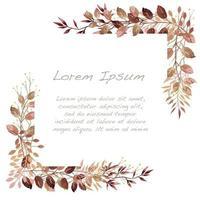 cadre botanique automne aquarelle marron et rouge