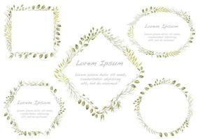 ensemble de cadres floraux aquarelles verts