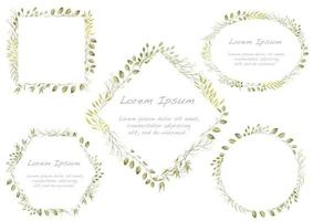 ensemble de cadres floraux aquarelles verts vecteur