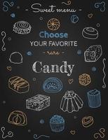 croquis de bonbons sur fond noir vecteur