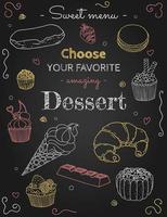 croquis de dessert sur fond noir