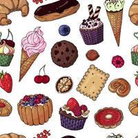 modèle sans couture de produits de boulangerie multicolore