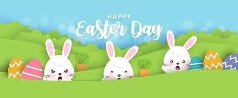 papier découpé bannière de Pâques avec des lapins, des œufs vecteur