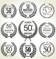 Ensemble de couronne de laurier 50e anniversaire vecteur