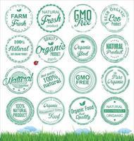 Collection de timbres d'aliments naturels biologiques vecteur