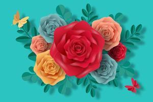 fleurs colorées dans un style papier découpé vecteur