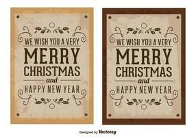 Anciennes cartes de Noël vintage vecteur