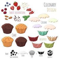 faire votre propre cupcake vecteur