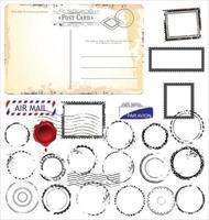 ensemble de design vintage rétro carte postale vide