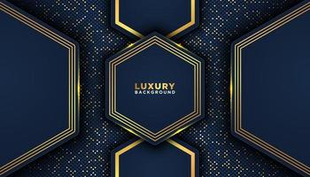 bleu foncé géométrique avec bordure dorée façonne fond de luxe vecteur