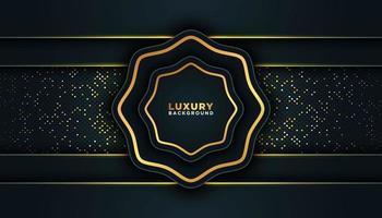 cadre de luxe noir avec garniture dorée vecteur
