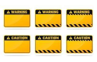 ensemble de panneaux d'avertissement jaune noir