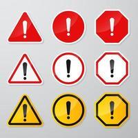 ensemble de panneaux d'avertissement de danger rouge et noir