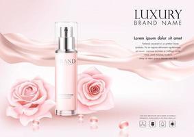 publicité cosmétique avec pétales de roses sur fond rose