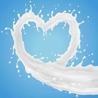 en forme de coeur de lait avec des éclaboussures et verser vecteur