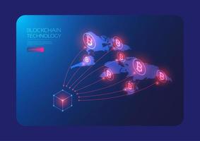 réseau mondial de bitcoins isométrique vecteur