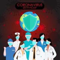 Covid 19 affiche avec des travailleurs de la santé