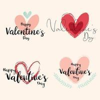 ensemble de conception de Saint Valentin dessiné à la main