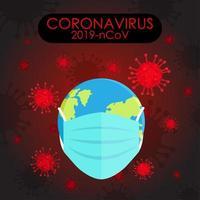 Covid 19 affiche avec de la terre dans un masque de protection vecteur