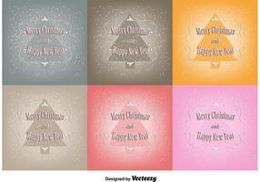Ensembles de cartes de vœux de vecteur gratuit