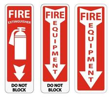 ensemble de signe d'équipement d'incendie