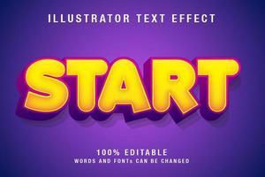 effet de texte modifiable en jaune et violet vecteur