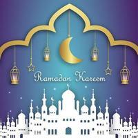 bannière de ramadan kareem avec la silhouette de la mosquée