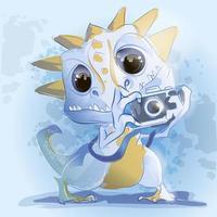 mignon bébé dinosaure avec appareil photo vecteur