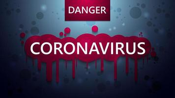 affiche d'avertissement de coronavirus bleu avec effet dégoulinant