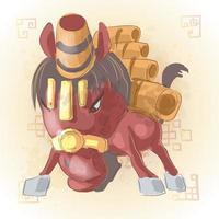 cheval zodiaque chinois animal dessin animé vecteur