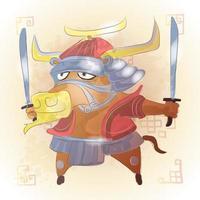 boeuf, zodiaque chinois, animal, dessin animé vecteur